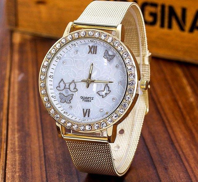 Złoty zegarek damski Bloger cyrkonie butterfly EdiBazzar