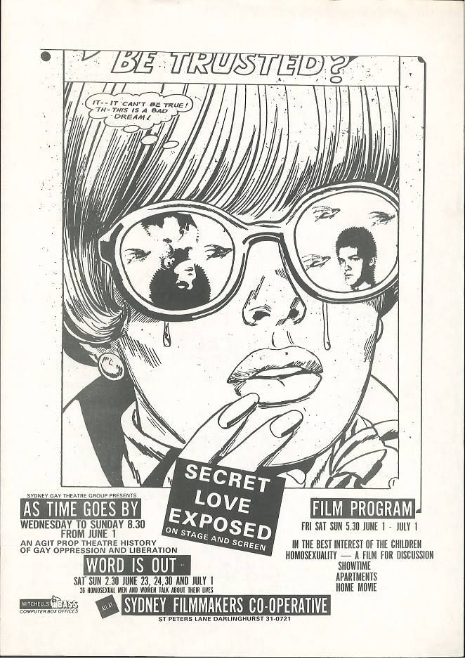 Secret love exposed; As time goes by (Sydney Gay Theatre Group); Word is Out etc, Sydney Filmmakers Cooperative, 1979, Ephemera Collection, Australian Lesbian and Gay Archives (ALGA)