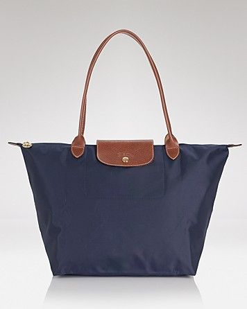 Longchamp Le Pliage Large Shoulder Tote in New Navy