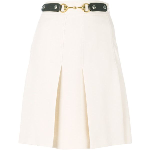 Gucci horsebit pleated skirt ($1,500) ❤ liked on Polyvore featuring skirts, nude, white knee length skirt, white pleated skirt, patterned pleated skirt, white skirt and pleated skirt