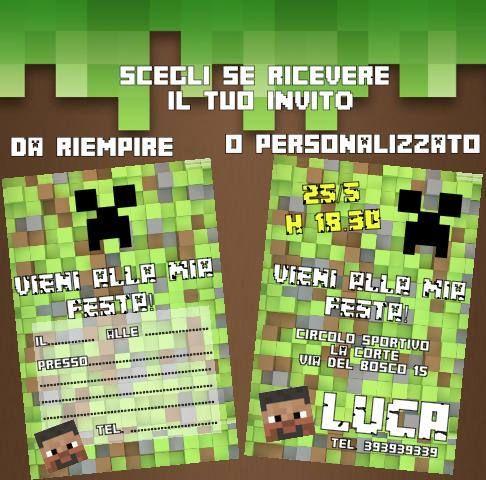 Biglietti di invito 20 pz per la festa a tema minecraft stampati su cartoncino 210 gr da riempire o già personalizzati di Festalandia su Etsy