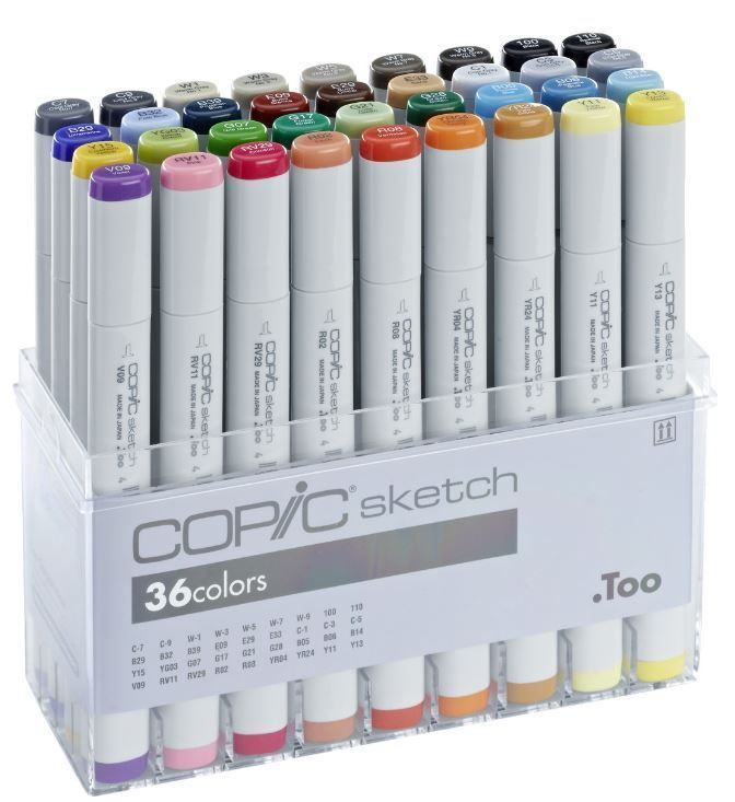 COPIC SKIZZE MARKIERUNGSSTIFTE - 36 BASIS FARB-SET - GRAFIK KUNST MARKER