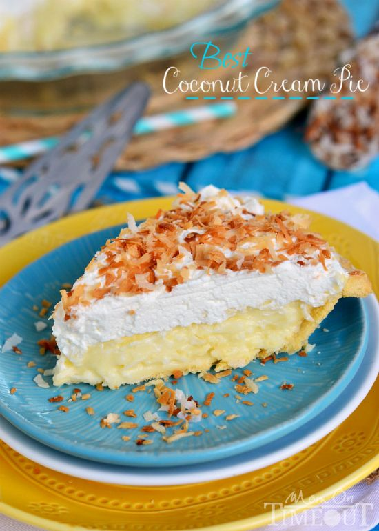 BEST Coconut Cream Pie EVER! Made with coconut milk for extra creamy, coconut flavor! | MomOnTimeout.com