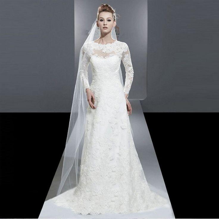 Пользовательские элегантный новый 2016 А - белого цвета слоновой кости кружева с длинным рукавом свадебное платье vestidos noiva свадебные платья свадебные платья для невесты