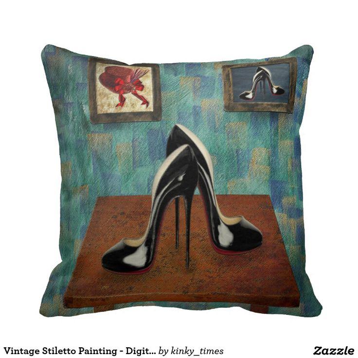 Vintage Stiletto Painting - Digital Art Pillows