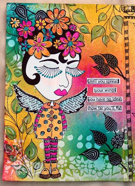 Dylusions Stamps | Simon Says Stamp and Show: Challenge: spritz, spray, or stencil