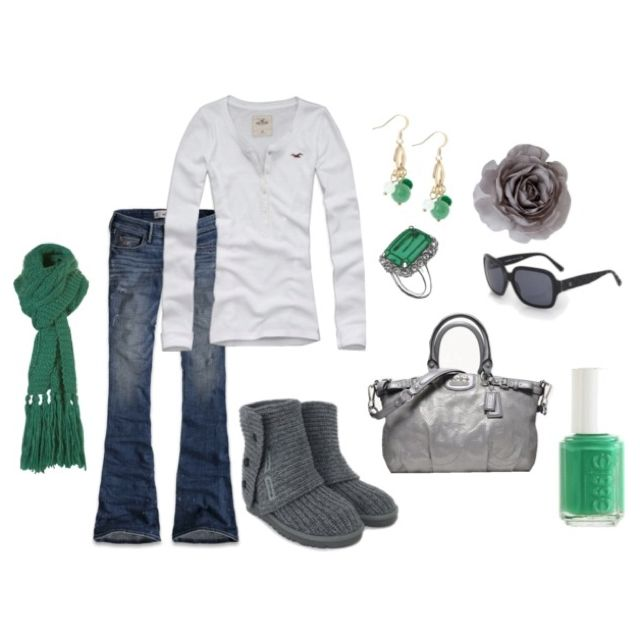 Cute and casual, just some cute grey boots instead of the UGG