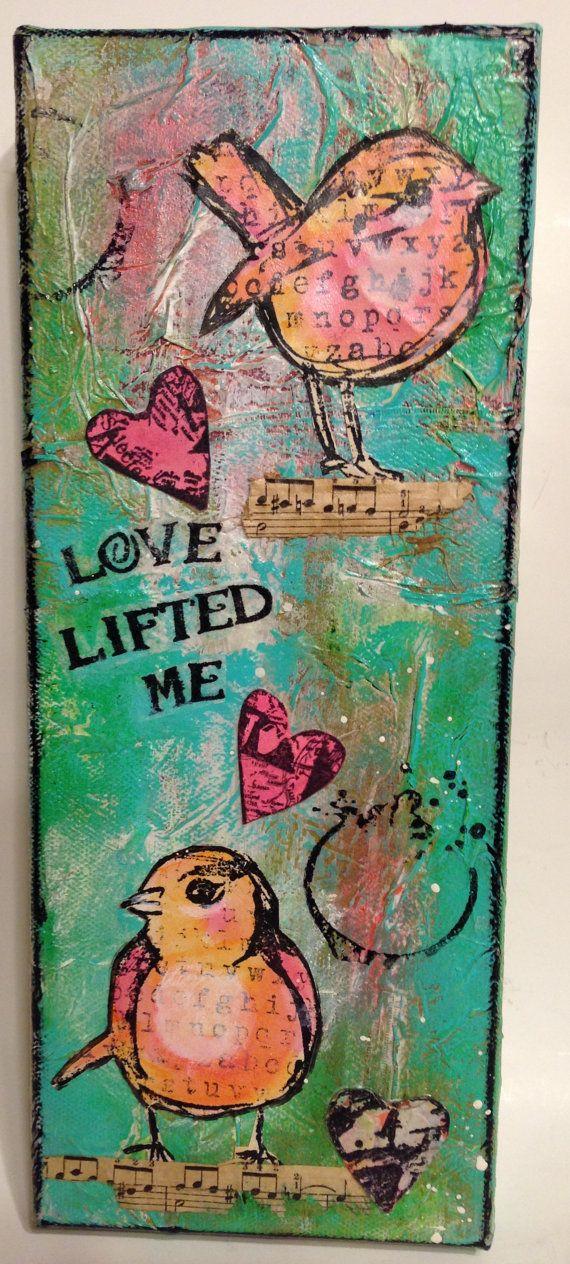MIXED MEDIA CanvasBird ArtDina Wakley by ThePokeyPoodle on Etsy