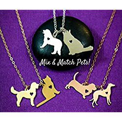 Two Pets Necklace - IBD - Cat Dog Animal Pendant - 925 Sterling Silver 14K Rose Gold Filled Charm - 3/4 Inch 19.05 MM - Best Friend