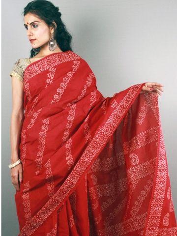 Pure Cotton Batik Inspired Saree, Sheer elegance, Love for cotton. Shop @essenceofindia.com or simply call on 9930655009