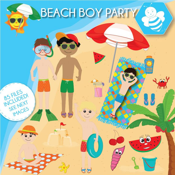 Beach Boy Party Clipart, beach clipart, commercial use, beach kids vector graphics, vacation kids digital clip art, CL0031 by Sweetdesignhive on Etsy