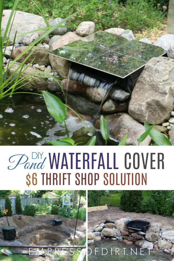 How To Hide A Pond Waterfall Spillway Box Diy Waterfall Waterfalls Backyard Diy Pond Waterfall