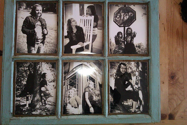 old window as picture frames