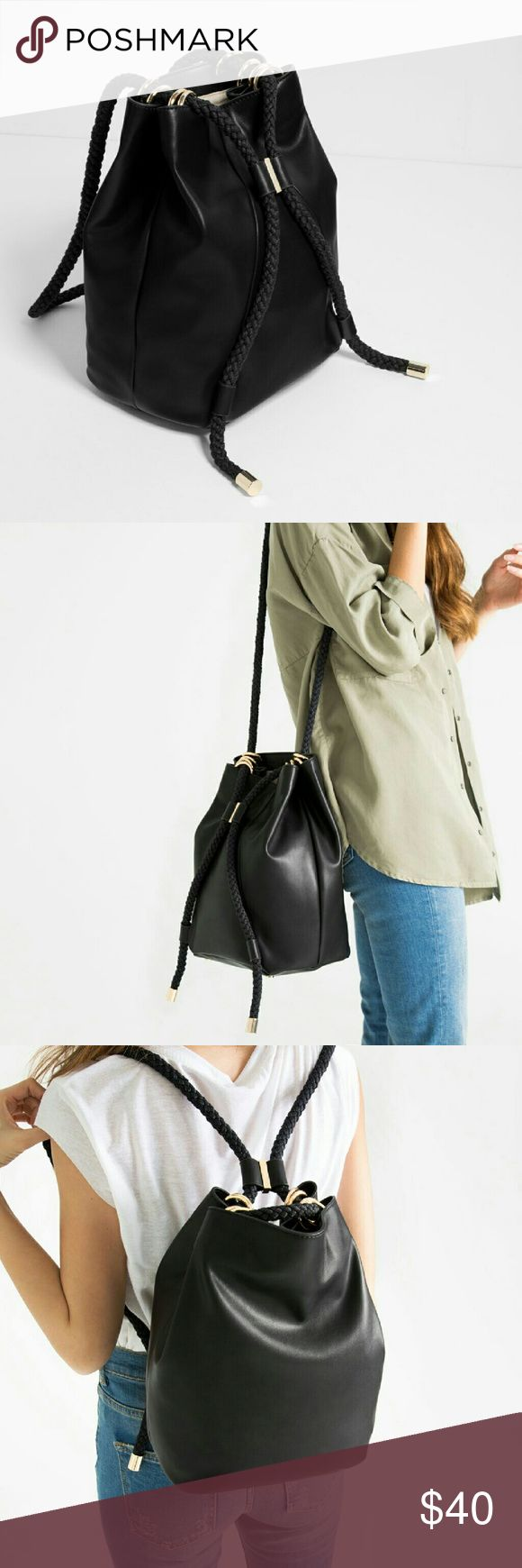 ZARA DRAWSTRING CONVERTIBLE BUCKET BAG black brand new with tags  bucket bag that can be worn as backpack sold out online and in stores   Height x Width x Depth (32 x 24 x 18 cm) Zara Bags Backpacks