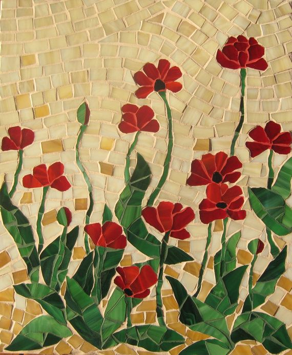 Mosaic panel FRAGILE BEAUTY Poppies handmade, mosaic art, glass
