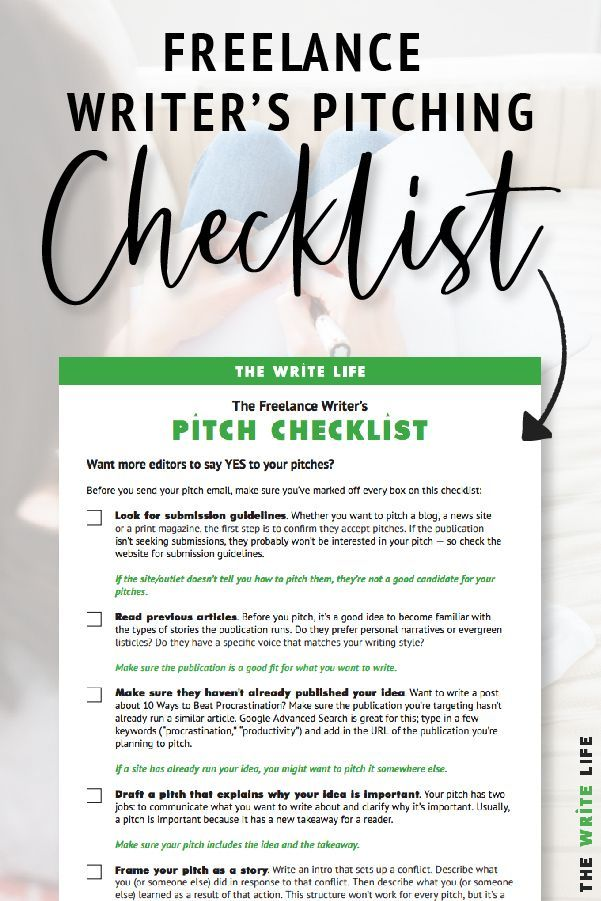 Free Download The Freelance Writer S Pitch Checklist Writing Life Writing Tips Book Writing Inspiration