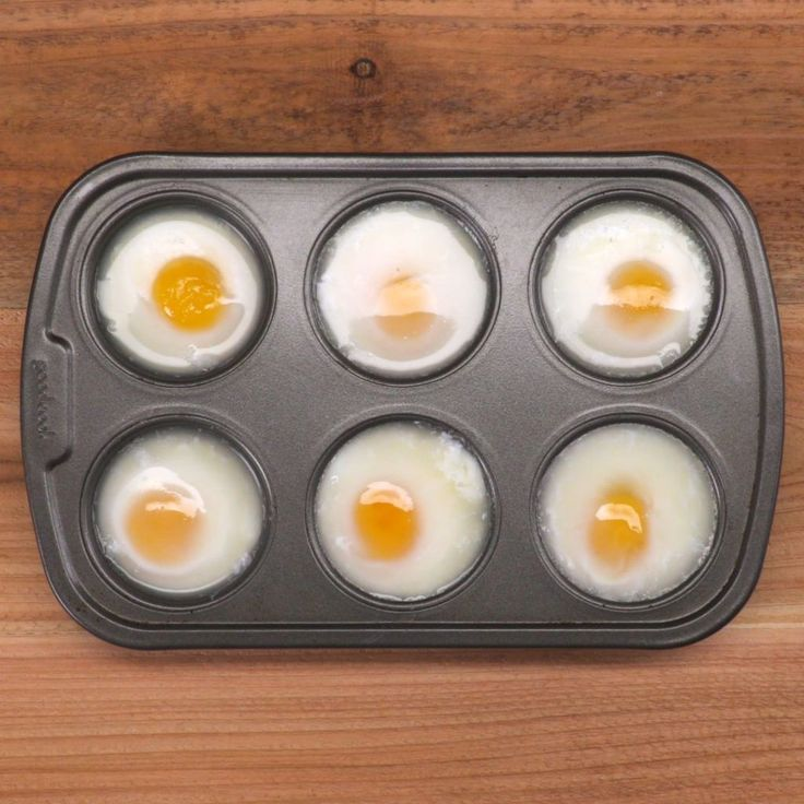 Muffin Tin Poached Eggs in muffin tin