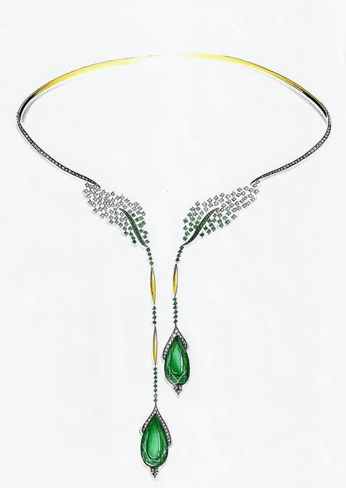 Diamond & emerald necklace design sketch