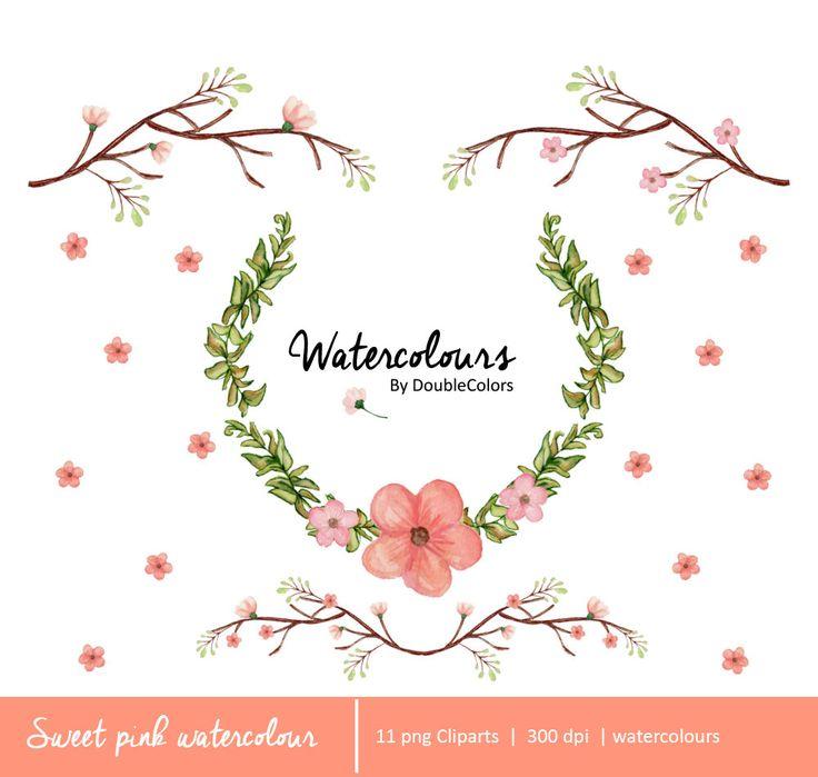 Sweet Pink Watercolour de DoubleColors en Etsy