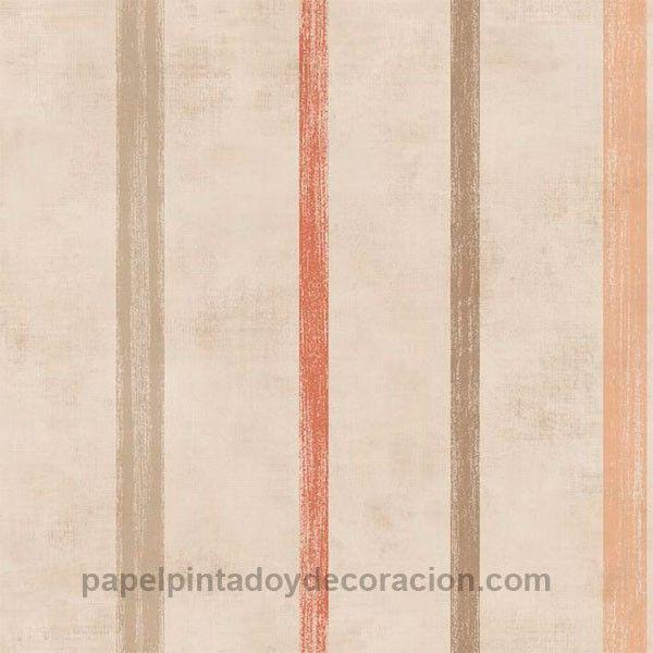 Papel pintado Caselio rayas jaspeadas marrones y naranja fondo marrón textura rugosa KDO66611134