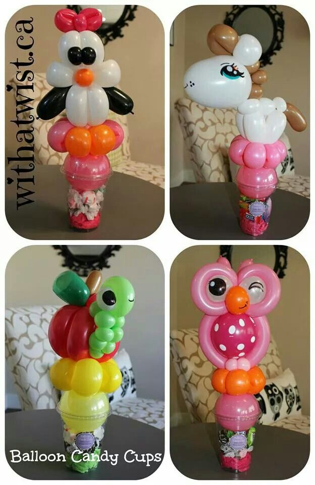 How's that for a nice gift packing idea? Candy cups with balloon sculptures on top = Balloon Candy Cups. Love it!