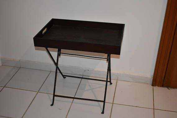 coffee table tray  suspendable wooden tray  iron stand