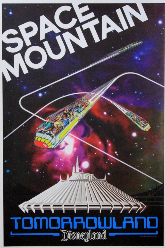 9 Stunning Vintage Disney Attraction Posters: Space Mountain | Since the first Space Mountain indoor roller coaster opened in 1975 at Disney World, other versions of the attraction have been introduced at Disneyland and at the other Disney parks around the world.