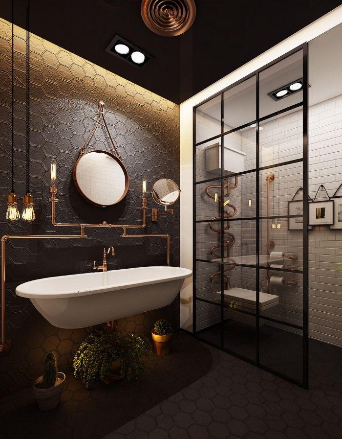 agencement salle de bain foncé avec cabine douche blanche, idée ...