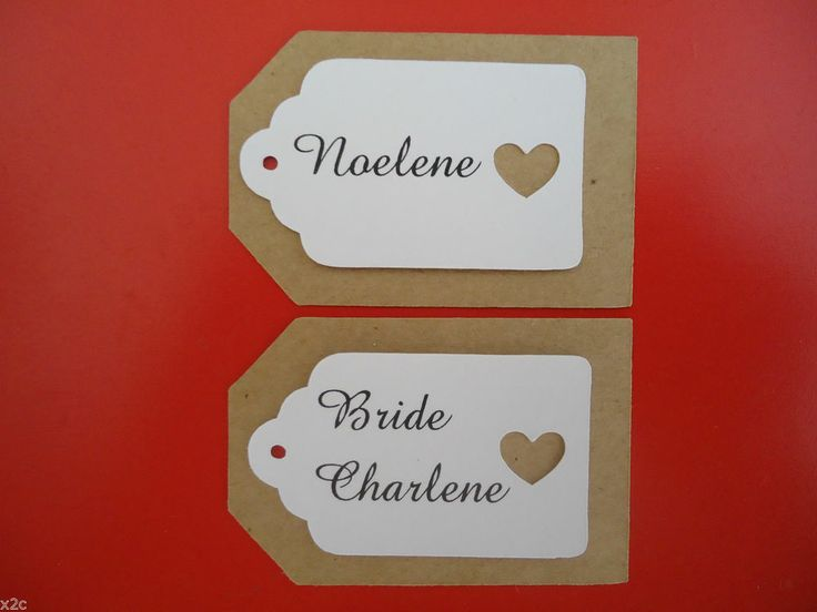 Kraft Brown and White Favour Gift Place Tags Personalised Wedding Bomboniere