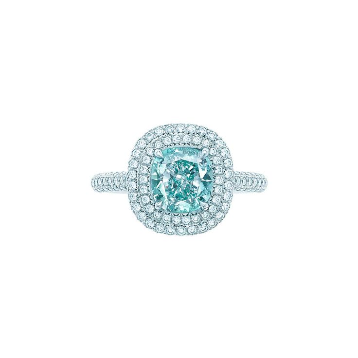 Tiffany Soleste®:Fancy Intense Bluish Green Diamond Ring