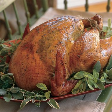 Roasted Herb Turkey, I make this every Thanksgiving! So good! It is worth the effort, I reduce the carrots and use what comes in a fresh herb packet. Yes, must use real butter.