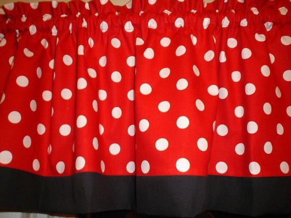 Red Black Polka Dot Mickey Minnie Mouse Kitchen Bedroom Fabric Curtain Topper Valance Window Valances