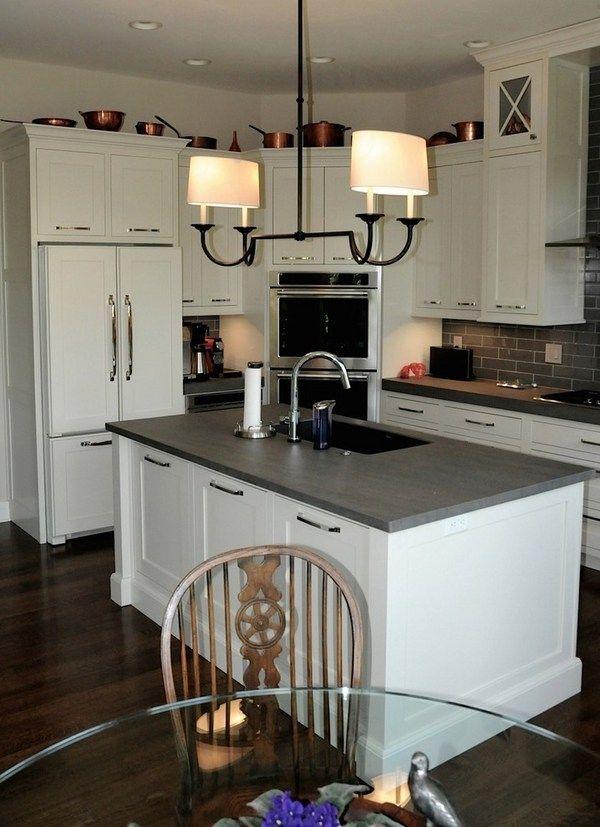 kitchen remodel ideas white kitchen cabinets porcelain slabs countertops wood flooring tile backsplash - Stone Slab Kitchen Decor