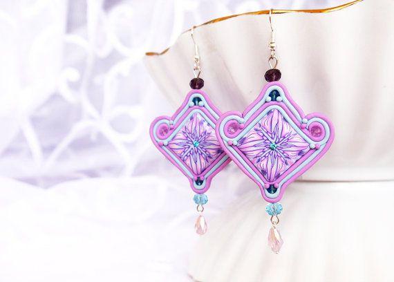 Soutache earrings Polymer clay Chandelier Earrings by BeLoveCreate