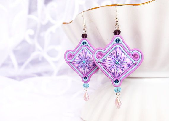 Soutache earrings Polymer clay Chandelier Earrings by BeLoveCreate