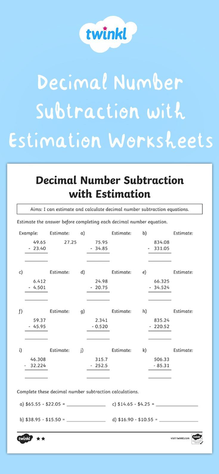 Decimal Number Subtraction With Estimation Differentiated Activity Sheets Decimal Number Subtraction Differentiation Activities [ 1590 x 735 Pixel ]