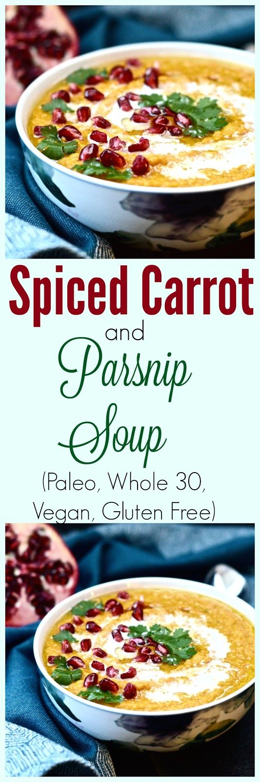 Spiced Carrot and Parsnip Soup (Paleo, Whole 30, Vegan, Vegetables) I would use mace instead of nutmeg