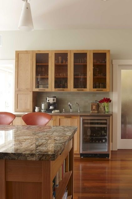 Stainless counters; coffee bar w/ sink and small refrigerator
