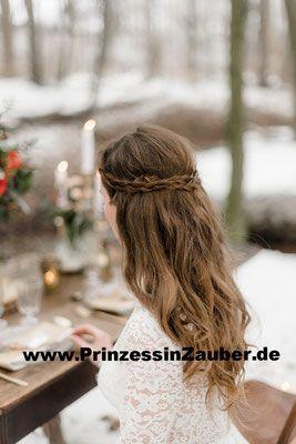 Braut Frisur Mit Geflochtenem Anteilhalboffen Hochgesteckt