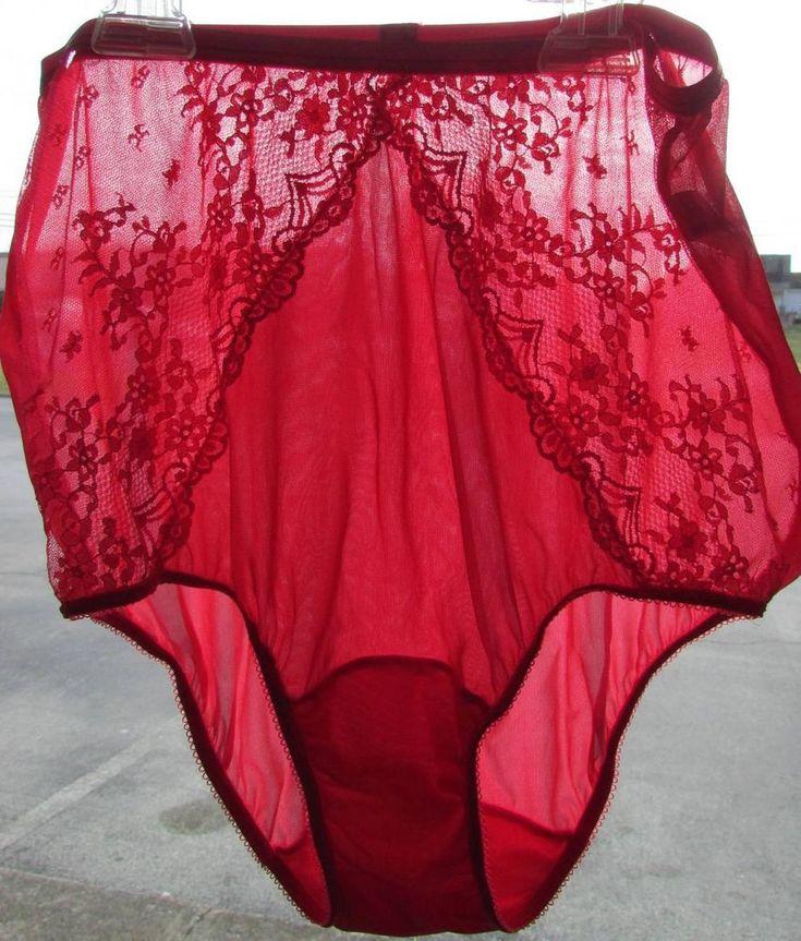 vine panties pink silky nylon granny lace inserts