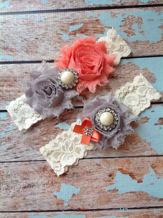 CORAL & GREY wedding garter set / bridal by FallenStarCoutureInc