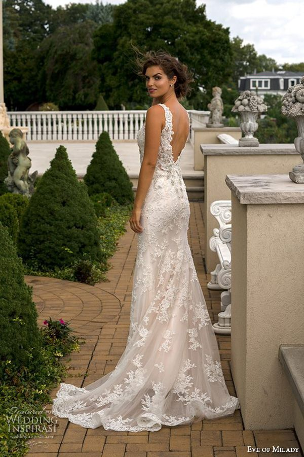 eve of milady boutique fall 2015 beautiful sheath wedding dress lace straps v neckline beaded lace embroidery low cut open v back 1553