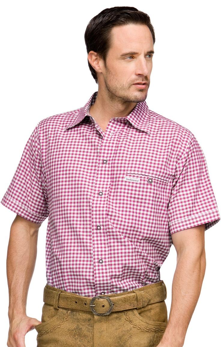 Stockerpoint Trachtenhemd Renko2 beere Halbarm Karohemd