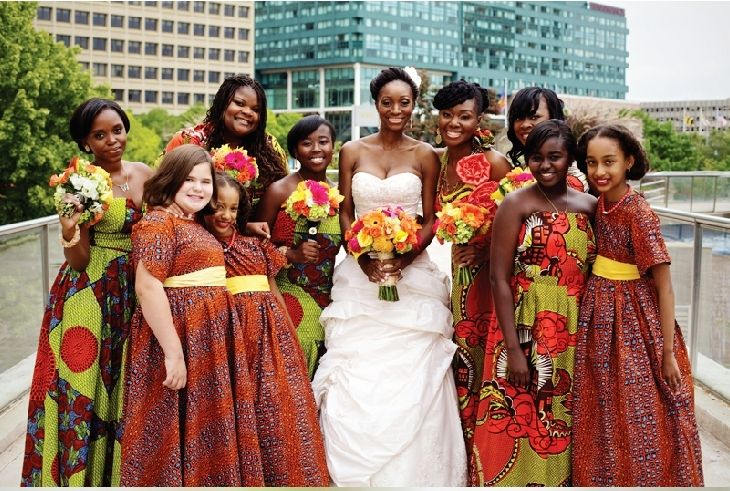 Take A Look At Traditional Wedding Outfits From Around The: Bridemaids Dressed With African Print