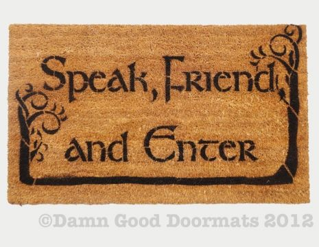 LOTR Tolkien  -Speak, Friend, and Enter- Novelty doormat with trees