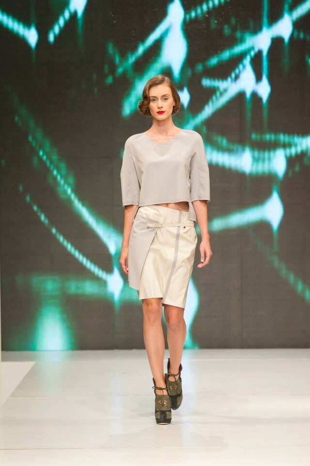 "Look #1 from our FW15 collection ""SandStorm"" presented at Band of Creators fashion show. If you like this look, you can find it online and on demand. For every purchase, you get a makeup bag! Outfit beautifully worn by Iulia Teuţan, comprised of the # #Asteroid #croptop and #StarDust #leatherskirt! #starwars #inspiration #fw15"