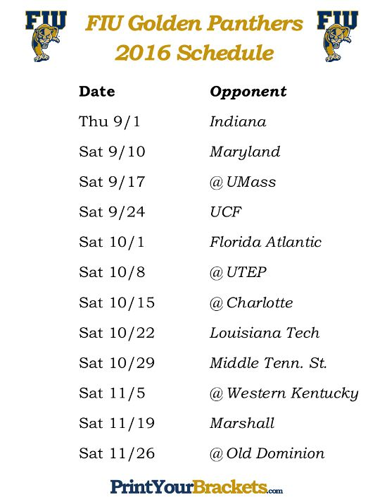 Printable FIU Golden Panthers Football Schedule 2016