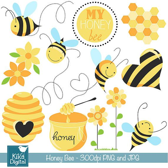 INSTANT DOWNLOAD Honey Bee Digital Clipart - Scrapbooking , card design, invitations, photo booth, web design