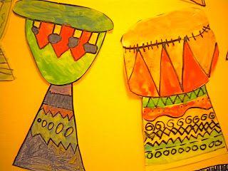 Waitsfield Elementary Art: West African Drums - 1st grade resist