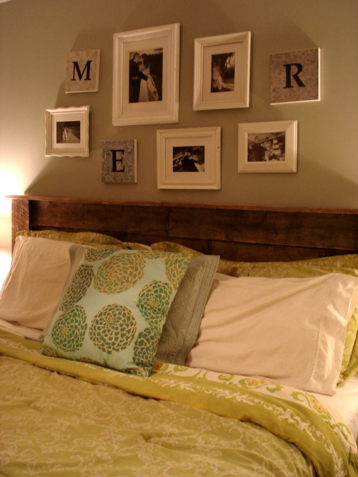wood pallet headboard!  I'm watching Emily make this headboard.: Peek Photo, Pallets Furniture, Woods Pallets Headboards, Master Bedrooms, Frames Collage, Guest Rooms, Size Headboards, Pictures Frames, Bedrooms Ideas